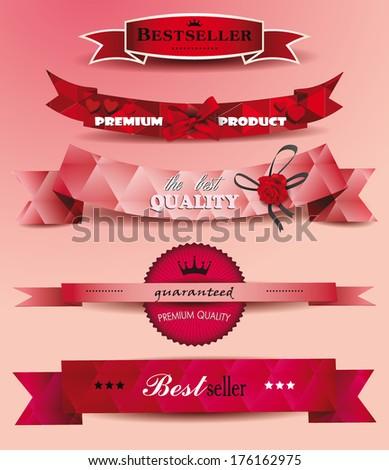 Set of ribbons Bestseler and premium product - stock vector