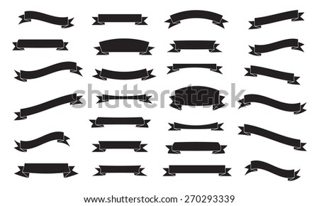 Set of ribbons, black isolated on white background, vector illustration. - stock vector