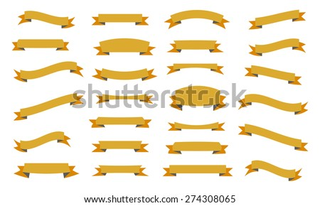 Set of ribbons, isolated on white background, vector illustration. - stock vector