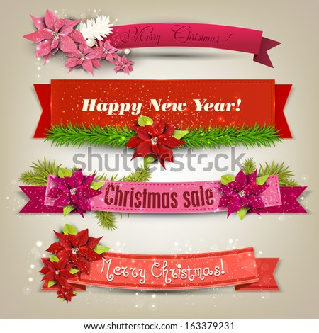 """Set of  Ribbons, Labels, Tags """"Merry Christmas and Happy New Year !"""" - stock vector"""