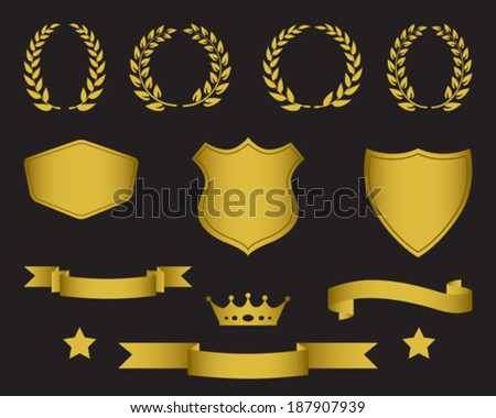 Set Of Ribbons, Laurel Wreaths, Stars, Shields And Crown - stock vector