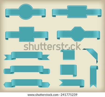 Set of ribbons.Ribbon banner vector illustration. - stock vector
