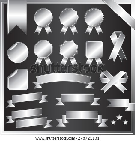 SET OF RIBBONS VECTOR : SILVER - stock vector