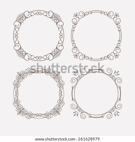 Set of 4 rich decorated calligraphic round frames. - stock vector