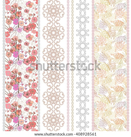 Set of rich retro lace borders with boho motifs. Hand drawn blooming sakura, seamless palm leaves print, geometric ornaments. Vintage textile collection. Golden, silver shadows on white.   - stock vector