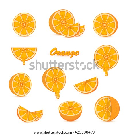 Set of ripe oranges and fresh juicy orange slices with juice isolated on white background, illustration. - stock vector