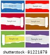Set of ripped colorful paper backgrounds. Vector illustration - stock photo
