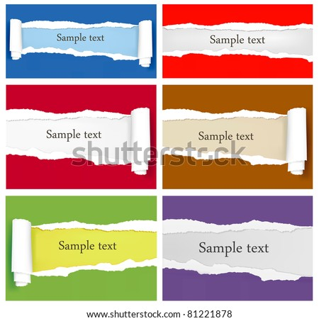 Set of ripped colorful paper backgrounds. Vector illustration - stock vector