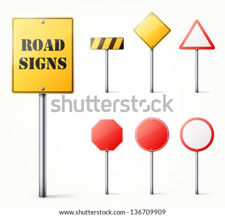Set of road signs eps10 vector illustration - stock vector