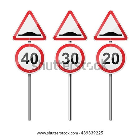 Set of 3 road signs, isolated on white background. Artificial roughness. Speed limit. EPS10 vector illustration. - stock vector