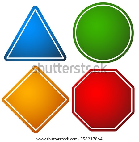 set road signs triangle circle square stock vector royalty free