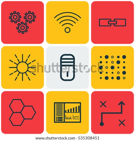 Set Of 9 Robotics Icons. Includes Lightness Mode, Controlling Board, Variable Architecture And Other Symbols. Beautiful Design Elements.