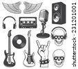 Set of rock and roll music elements. Monochrome - stock vector