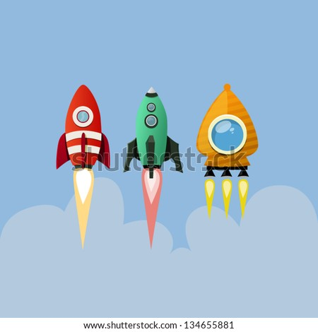 Set of rockets - stock vector