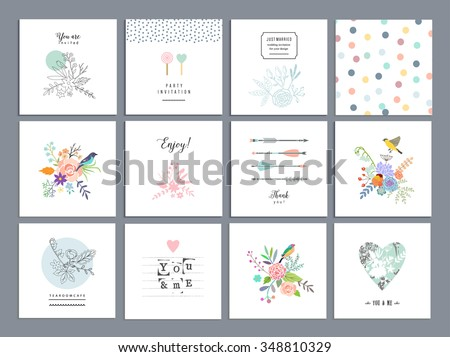 Set of romantic floral cards. Wedding, anniversary, birthday, Valentin's day, party invitations. Vector. Isolated. - stock vector