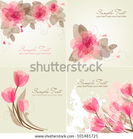 Set of 4 Romantic Flower Backgrounds in pink and white colors. Ideal for Wedding invitation, birthday card or mother's day card - stock vector