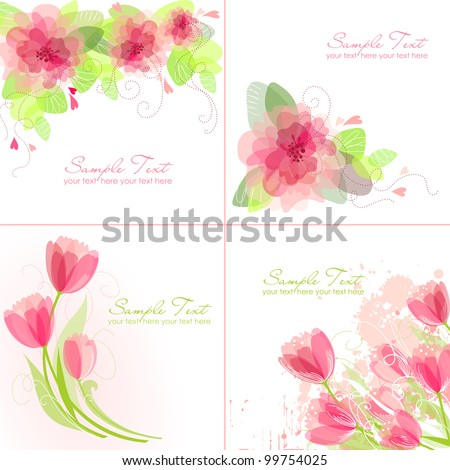 Set of 4 Romantic Flower Backgrounds in pink and white colours. Ideal for Wedding invitation, birthday card or mother's day card - stock vector