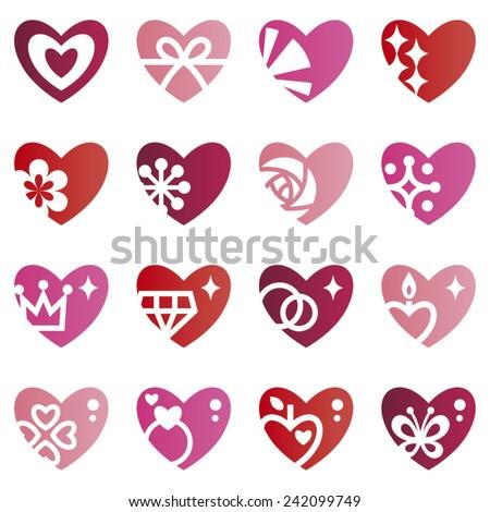 Set of romantic heart icons - stock vector