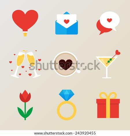 Set of romantic icons  - stock vector
