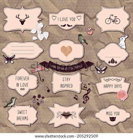 Set of romantic scrapbook elements, hand drawn frames and decorative things - stock vector