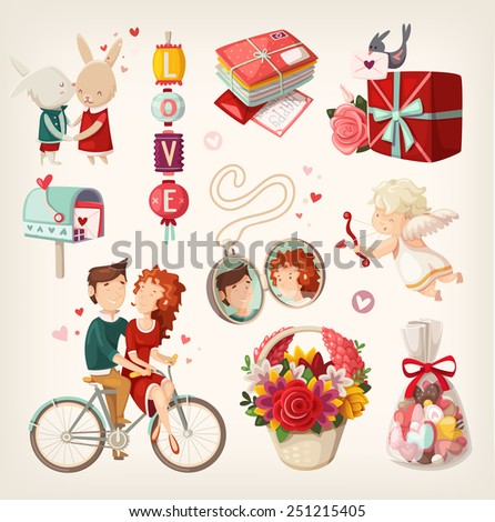Set of romantic valentine items and people. - stock vector