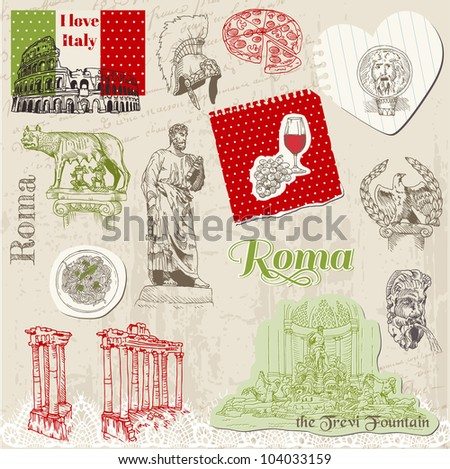 Set of Rome doodles - for design and scrapbook - hand drawn in vector