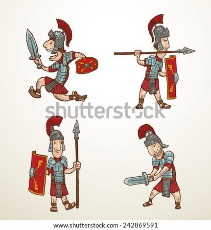 set of Rome warriors, vector - stock vector
