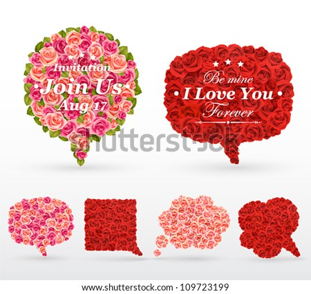 Set of rose bubbles for speech. Vector illustration. - stock vector