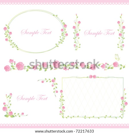 set of rose frame - stock vector