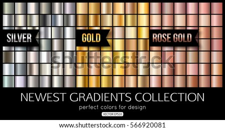 Set of rose gold, silver gradients. Shiny gold texture, vector illustration