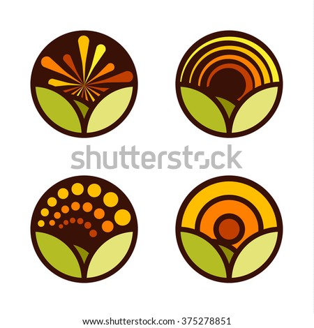 Set of round abstract vector logos. Landscape view illustration. Sunrise, sunset image. Rainbow icon. Green and orange colors. Nature label. Sunny day. Agricultural image. Farm. Spring icon. Summer. - stock vector