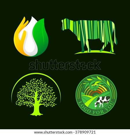 Set of round agricultural vector logos. Farm icons. Dairy products symbols.. Fresh meat sign. Green meadow illistration. Nature image. Organic products. Eco label. Rural landscape. - stock vector