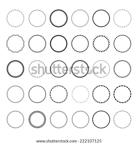 Set of round and circular decorative patterns for design frameworks and banners - stock vector