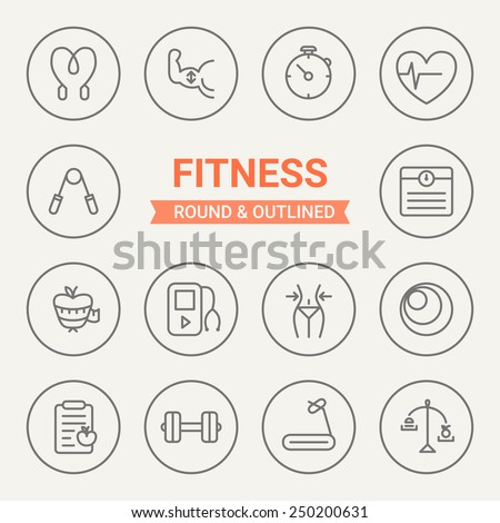 Set of round and outlined fitness icons. Jumping, Bodybuilding, Stopwatch, Heart Rate, Scales, Diet, Player, Fitness, Gymnastic Ball, Accounting Calories, Dumbbell, Cardio Workout, Healthy Eating.  - stock vector