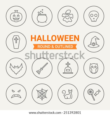Set of round and outlined Halloween icons. Pumpkin, Potion, Ghost, Skull, Coffin, Bell Witch, Bat, Broom, Grave, Owl, Web, Scary Face, Cat, Candy. Perfect for web pages, mobile applications - stock vector