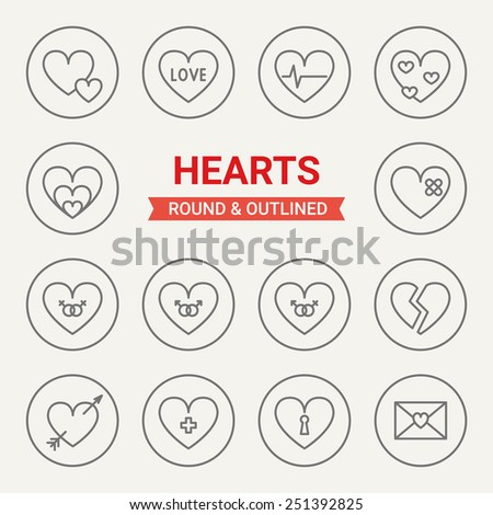 Set of round and outlined hearts icons. Love, Pulse, Passion, Hurt, Heterosexual Pair, Homosexual Pair, Broken Heart, Cupid arrow, Sympathy, Deepest Secrets, Love Letter. Perfect for web pages - stock vector