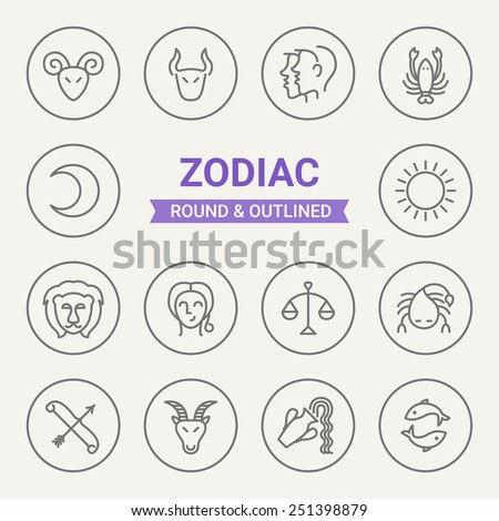 Set of round and outlined zodiac icons. Aries, Taurus, Gemini, Cancer, Leo, Virgo, Libra, Scorpio, Sagittarius, Capricorn, Aquarius, Pisces, Moon, Sun. Perfect for web pages, mobile applications - stock vector