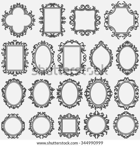 set of round and square vintage frames, design elements - stock vector
