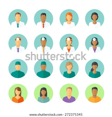 Set of round avatars different medical stuff like general doctor, therapist, surgeon and otolaryngologist. Also icons of patients for medical forum - stock vector