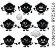 Set of round black and white smilies symbolising various human emotions. Vector - stock vector