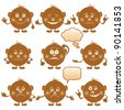 Set of round brown smilies symbolising various human emotions. Vector - stock vector