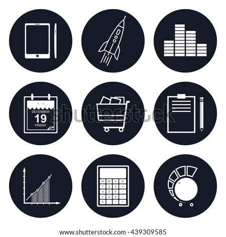 Set of Round Business Icons, Phone and Office Items, Icon of Business Success, Graph Growth, Shopping Basket, Black and White Vector Illustration  - stock vector