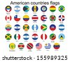 set of round buttons with American countries flags - stock vector