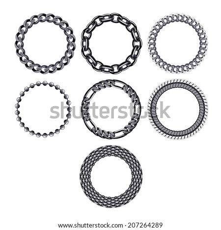 Set of round chain frames of black metal. Elements for design. - stock vector