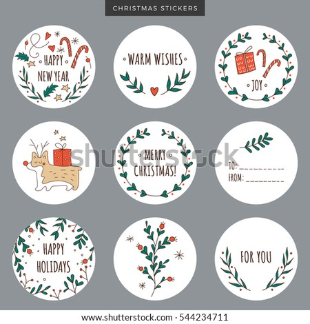 set round christmas labels stickers tags stock vector royalty free