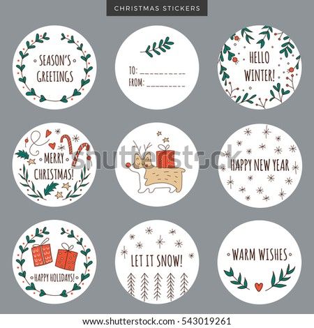 set round christmas labels stickers tags stock vector 543019261