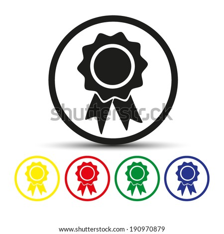 Set of round colored buttons. vector illustration Vector badge with ribbons icon - stock vector