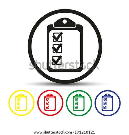 Set of round colored buttons. vector illustration Vector checklist icon - stock vector