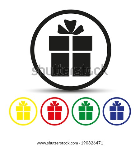 Set of round colored buttons. vector illustration Vector icon Gift box icon. - stock vector