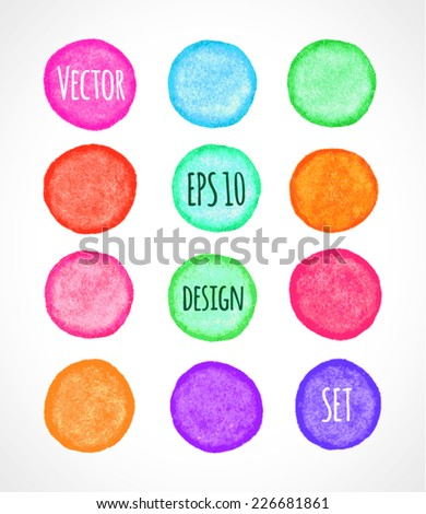 Set of round colorful grunge vector shapes. Vector banners. Abstract shapes. Abstract hand drawn background. Retro background. Vintage background. Bright colors design elements. Eps10.  - stock vector